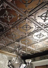 Faux Tin Tiles in Dining Room