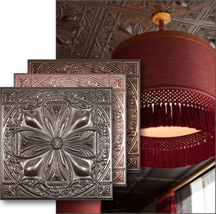 Leather ceiling tiles