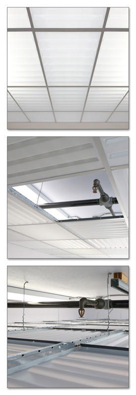 Fire Suppression Sprinklers above Translucent Drop-out Ceiling Panels